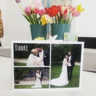 Danksagungskarte an Onelovephoto Hochzeitsfotografie Hotel Grenzhof